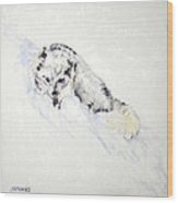 Arctic Fox Kit Wood Print