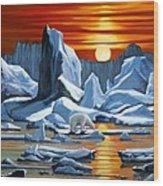 Arctic Sunset Polar Bear Wood Print