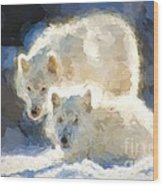 Arctic Wolves - Painterly Wood Print