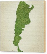 Argentina Grass Map Wood Print by Aged Pixel