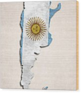 Argentina Map Art With Flag Design Wood Print