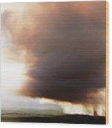 Ariel View Of Burning Sugar Cane Fields Wood Print