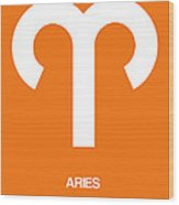 Aries Zodiac Sign White On Orange Wood Print