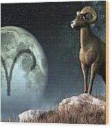 Aries Zodiac Symbol Wood Print