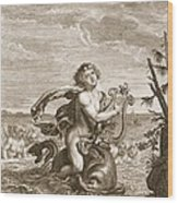 Arion Preserved By A Dolphin, 1731 Wood Print
