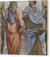 Aristotle And Plato Detail Of School Of Athens Wood Print