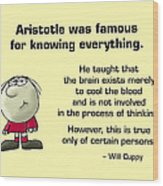 Aristotle Knew It All Wood Print by Mike Flynn
