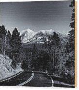 Arizona Country Road In Black And White Wood Print