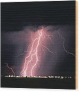 Arizona  Lightning Over City Lights Wood Print