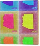 Arizona Pop Art Map 4 Wood Print