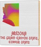 Arizona State Map Collection 2 Wood Print
