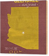 Arizona State University Sun Devils Glendale College Town State Map Poster Series No 012 Wood Print