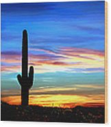 Arizona Sunset Saguaro National Park Wood Print