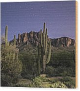 Arizona Superstition Mountains Night Wood Print by Michael J Bauer