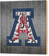 Arizona Wildcats College Sports Team Retro Vintage Recycled License Plate Art Wood Print