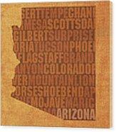 Arizona Word Art State Map On Canvas Wood Print