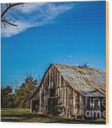 Arkansas Barn And Blue Skies Wood Print by Jim McCain