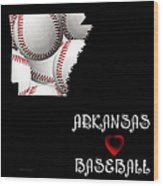 Arkansas Loves Baseball Wood Print by Andee Design