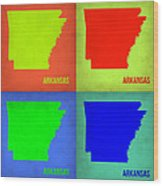 Arkansas Pop Art Map 1 Wood Print by Naxart Studio