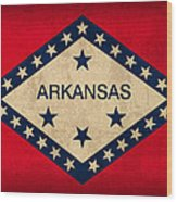 Arkansas State Flag Art On Worn Canvas Wood Print by Design Turnpike
