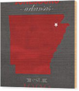 Arkansas State University Red Wolves Jonesboro College Town State Map Poster Series No 014 Wood Print