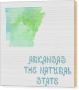 Arkansas - The Natural State - Map - State Phrase - Geology Wood Print by Andee Design