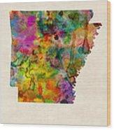 Arkansas Watercolor Map Wood Print
