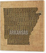 Arkansas Word Art State Map On Canvas Wood Print