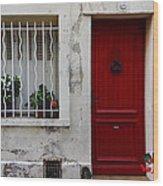 Arles House With Red Door Dsc01806  Wood Print