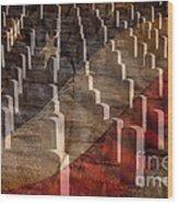 Arlington Cemetery With Faded Flag Wood Print