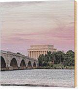 Arlington Memorial Bridge With Lincoln Wood Print