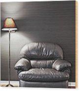Armchair And Floor Lamp Wood Print