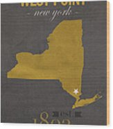 Army Black Knights West Point New York Usma College Town State Map Poster Series No 015 Wood Print