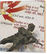 Army Man Lying On Middle East Conflicts Map Wood Print by Amy Cicconi