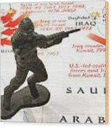 Army Man Standing On Middle East Conflicts Map Wood Print