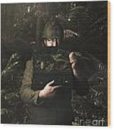Army Soldier With Security Screen Saver Wood Print