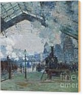 Arrival Of The Normandy Train Gare Saint-lazare Wood Print