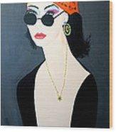 Art Deco  Hippy Girl Wood Print