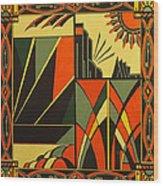 Art Deco In Orange Wood Print