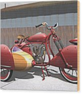 Art Deco Motorcycle With Sidecar Wood Print