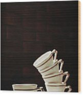 Art Deco Teacups Wood Print
