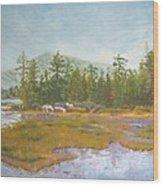 landscape print art for sale oil painting Serene Wood Print