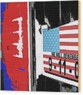 Art Homage Jasper Johns American Flag 9-11-01 Memorial Collage Barber Shop Eloy Az 2004-2012 Wood Print