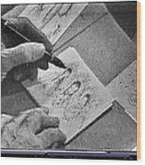 Art Homage Ted Degrazia Pen Ink Drawing On Camera Kvoa Tv Studio January 1966  Wood Print