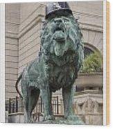 Art Institute Lion Wood Print
