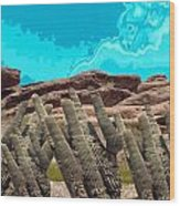 Art No 1901 American Landscape Cactus Stone Mountains And Skyview By Navinjoshi Artist Toronto Canad Wood Print