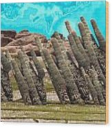 Art No.1900 American Landscape Cactus Stone Mountains And Skyview By Navinjoshi Artist Toronto Canad Wood Print