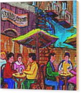 Art Of Montreal Enjoying A Pint At Ye Olde Orchard Irish Pub And Grill Monkland Village Cafe Scenes Wood Print