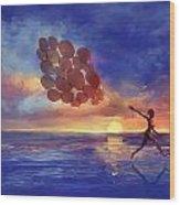 Art The Sea  A Girl Balloons Running Wood Print