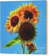 Artful Sunflower Wood Print